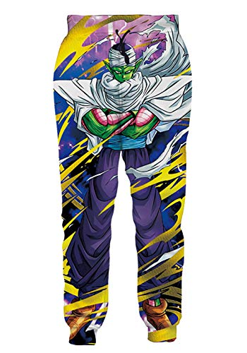 Ocsoc Mens 90s Sport Jogging Pants Fashion Dragon Ball Z Anime Character Cartoon Track Joggers Hip Hop Trousers for Streetwear Parties XXL