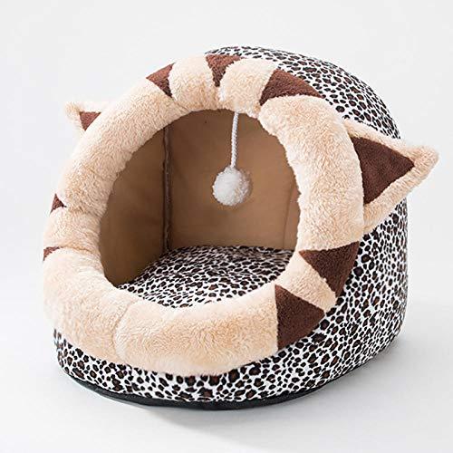 Cama para Perros de Felpa Suave y cálida Cama para Perros Cama para Dormir mullida sofá para Mascotas Perros pequeños y medianos de Varios tamaños -Estampado de Leopardo_M-45 * 42 * 34