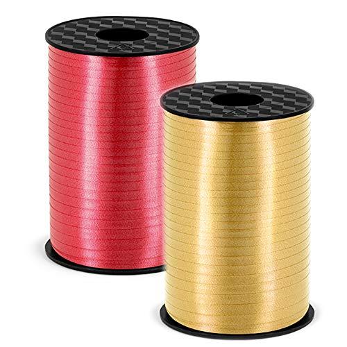 HausderHerzen 2er Set Polyband Geschenkband Kräuselband Ringelband Ballonband 5 mm - 2X 225 Meter rot und Gold für Geschenke oder Ballons