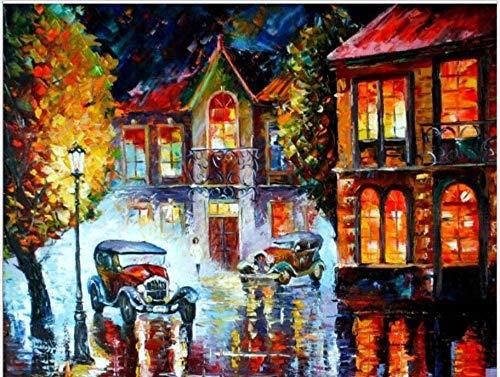 FGHJSF Pintar por Numeros Vista Nocturna de la Ciudad Lienzo Pintura al óleo para Adultos y Niños DIY Pintura al Óleo por Números Decoración del Hogar - 40 x 50 cm (Sin Marco)