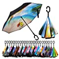 Spar. Saa Double Layer Inverted Umbrella with C-Shaped Handle, Anti-UV Waterproof Windproof Straight Umbrella for Car Rain Outdoor Use (the Beach)