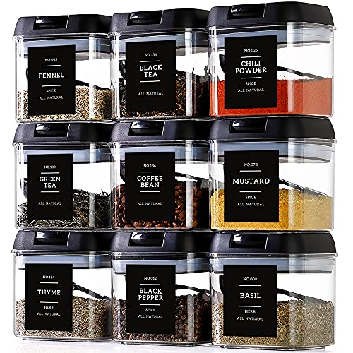 Contenedores de especias con etiquetas, 9 unidades grandes de plástico para almacenamiento de té con 148 etiquetas de especias y 9...