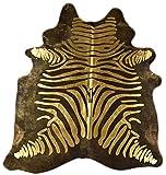 Natur-Fell-Shop - Alfombra de piel de vaca (210 x 180 cm), diseño de cebra, color negro y dorado
