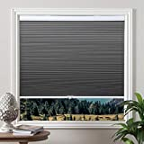 Cordless Cellular Blinds Blackout Shades Honeycomb Blinds Window Fabric Blinds Grey-White, 34x64 inch