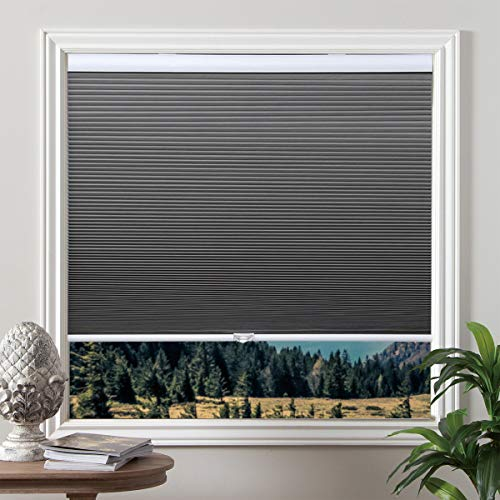 Cordless Cellular Shades Blackout Blinds Honeycomb Shades Window Fabric Blinds Grey-White, 31x64 inch