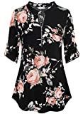 BEPEI Business Casual Clothes for Women,Winter Floral Red Lounge Wear Fitted Tops Misses V Neck Dressy Shirts Black Pink XL