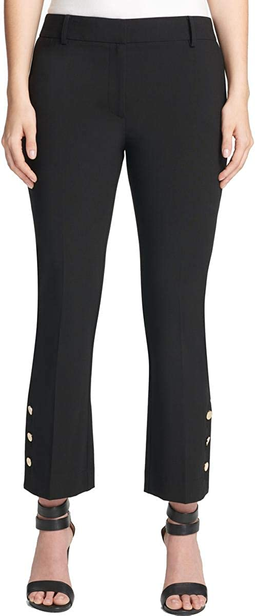 DKNY Womens Button-Detail Skinny Ankle Pants, Black, Size 10