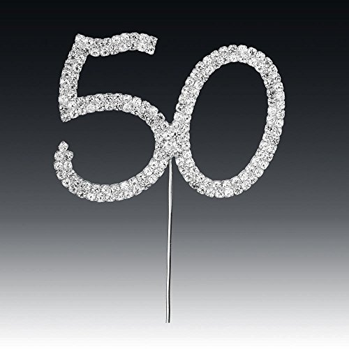 Club 50th Vert Strass sur Tige Argent, Argent, 4.5 x 5.5 cm