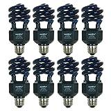 Sunlite 05647-SU CFL Black Light Bulb (BLB), Perfect for Halloween, Spiral Blacklight, 20 Watts, 120 Volts, Medium Base (E26), 463nm, UL Listed, 8 Pack, 8 Count