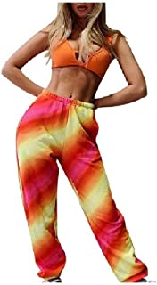 Womens Pants Floral Spring Baggy Long Pants Smocked Waist Active Harem Pants