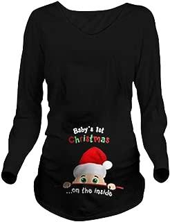Christmas Women Maternity Tee Top Cute Funny Pregnancy Announcement T Shirt