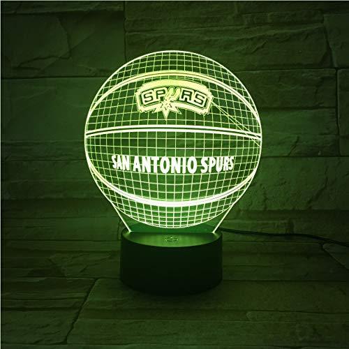 3D Lava Lamp Creative 7 Color Changing Led Night Light Mood Decor Gift Bedroom Table Lamp Basketball San Antonio Spur