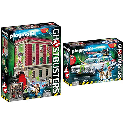 Playmobil Ghostbusters 9219 Firehouse for Children Ages 6+ & Ghostbusters 9220 Ecto-1 with Light and Sound Effects for Children Ages 6+