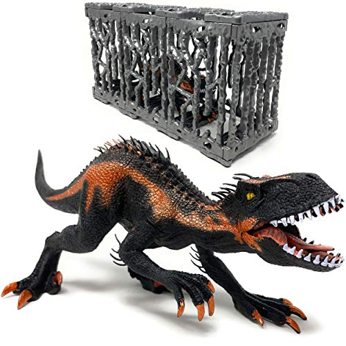 Trex Indominus Rex Dinosaurier im Käfig - Riesiger Dino mit beweglichem Mund | XXL Jurassic Spielzeug T-Rex Raptor Figur | Toy Spielfigur Beißender Velociraptor (Schwarz)