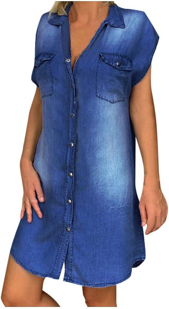 Dresses for Women Casual Summer Turn-Down-Collar Denim Short Sleeve Mini Dress Sundress Loose Buttons Shirt Dress