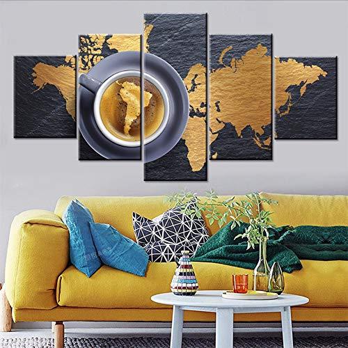 Cczxfcc Home Decor Canvas met druk 5 stuks Merk Dragon Wall Art Koffie Modulaire afbeeldingen Eetensfoto's voor de woonkamer Poster Artwork 10x15/20/25cm-contiene Telaio