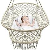 BABYDXY Cuna de bebé, Silla Hamaca Macrame Columpio de Cuna portátil, Cuerda de algodón Hecha a Mano de diseño Bohemio 38.5'L X 19.6' W