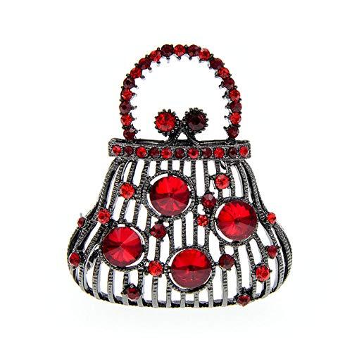 YJRIC Broche Nouveau Strass Sac à Main Broche Vintage Mode Broches pour Femmes 4 Couleurs Disponibles Cristal Bijoux Nouveau 2020, Rouge