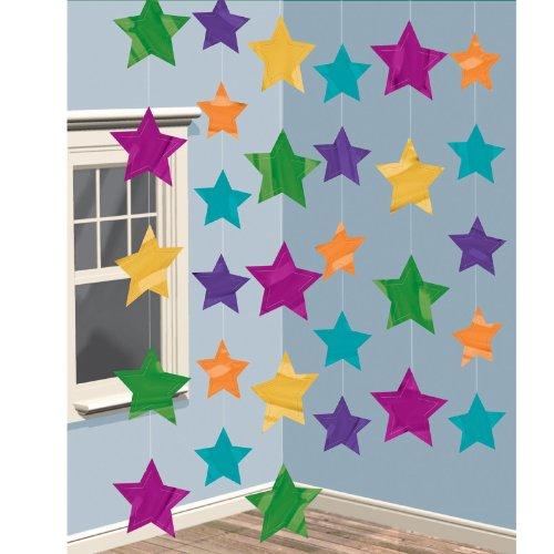 Ficelles de décoration - Etoiles multicolores - (6) Accessoires de fêtes