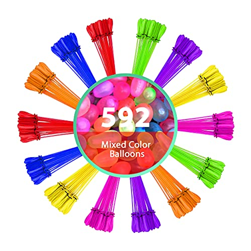 Splash A Balloon 592 Biodegradable Water Balloons Quick Fill self Sealing Extra Easy Hot Summer Outdoor Kids Games - bloonies Water Toys Kid Set (592)