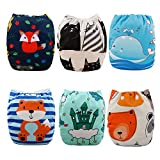 Babygoal Cloth Diapers for Boys, Adjustable Reusable Nappy 6pcs Diapers+6pcs Microfiber Inserts+4pcs Bamboo Inserts...
