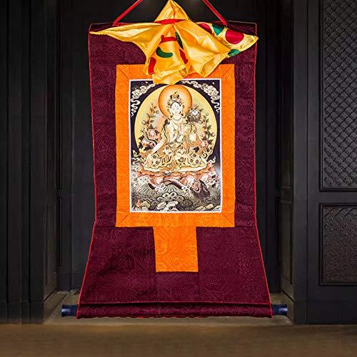 Witte Tara Thangka Geborduurde Doek Decoratie Tibetaanse Thangka Decoratieve Schilderijen Wit Tara Thangka Boeddha Schilderijen