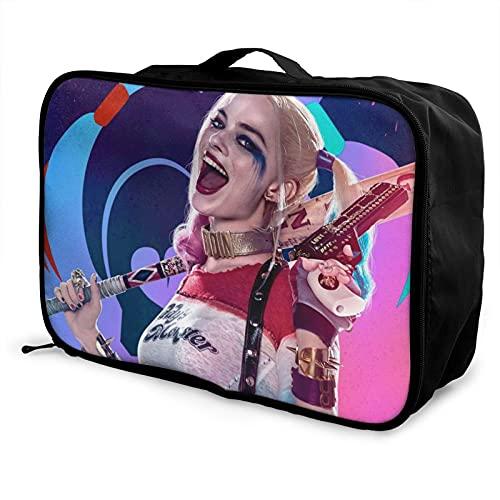 Harley Quinn Bolsa de equipaje portátil de gran capacidad, impermeable, ligera, de viaje, hecha de poliéster, con patrones de impresión elegantes y exquisitos