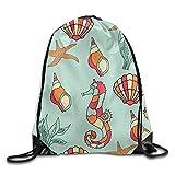 Etryrt Mochilas/Bolsas de Gimnasia,Bolsas de Cuerdas, Large Capacity Drawstring Backpack Seahorse Seashell Bunch Backpack for Men and Women