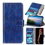 LMFULM® Hülle für LG V60 ThinQ 5G (6,8 Zoll) PU Leder Magnet Brieftasche Lederhülle Retro Crazy Horse Muster Stent-Funktion Ledertasche Flip Cover Blau