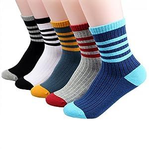 [LILY CUPS] スポーツ 靴下 キッズ カラーフル 5足セット スポーツ 靴下 男の子 女の子 スポーツ ソックス 男の子 女の子 登園 通学 (XL, ブルー)