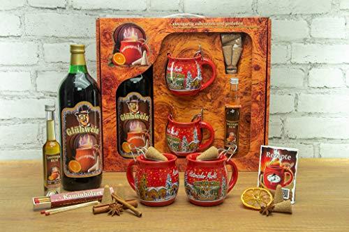 Feuerzangentasse Geschenkset, Wurzelholz, Rot/Historischer Markt - für Feuerzangenbowle