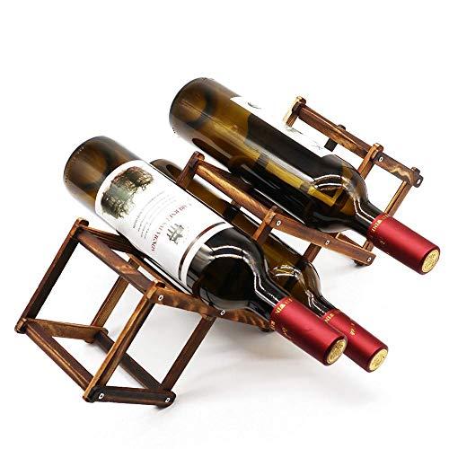 Z&HAO Estante De Vino De Madera, Estante De Vino De Pie, Soporte De Botella De Vino De Almacenamiento para Botellas Delgadas De hasta 750 Ml Organizador De Mesa De Mostrador, 5 Ranuras