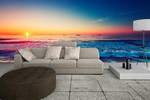 Fotobehang vinyl strand zonsondergang | verschillende afmetingen 100 x 70 cm | Ideaal voor de decoratie van eetkamer, woonkamer | landschapsmotieven | steden, natuur, kunst elegant design