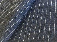 生地屋すず木 1m価格 綿 ウール 圧縮 ニット ネイビー ストライプ 布 生地 カットクロス ハンドメイド用品 DIY