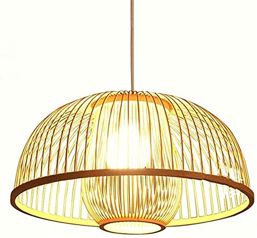 LHTCZZB LED Hecho a mano Lámpara colgante de techo de techo de bambú de mimbre de bambú Sombras de tela Lámpara de tela E26 Luz de colgante Fijo de luz para sala de estar Comedor Comedor Bar Cafe Hech