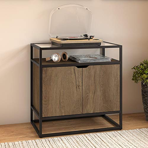 Bush Furniture Anthropology Record Player Stand with Storage in Rustic Brown