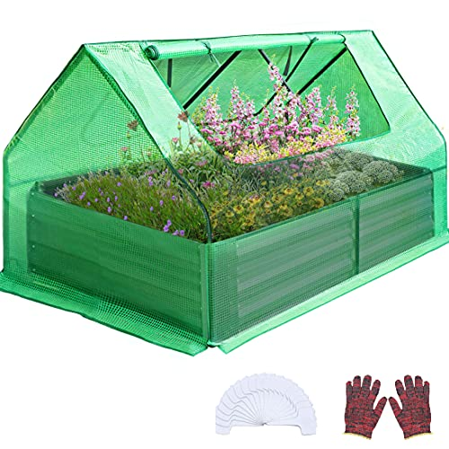 Quictent 4×3×1 Ft Extra-Thick Galvanized Steel Raised Garden Bed Planter Kit Box with Greenhouse 2 Large Zipper Windows Dual Use, 20pcs T-Types Tags & 1 Pair of Gloves Included (Green)