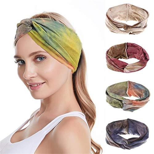 LKOOO 4 diademas para mujer, estilo vintage, para la cabeza, bufanda, elástica, para el pelo, accesorios para el cabello