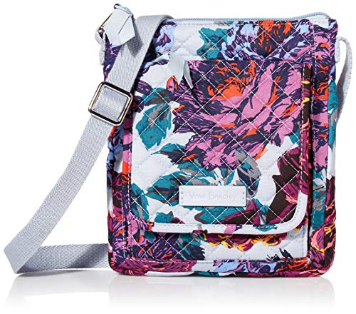 Vera Bradley Signature Cotton Mini Hipster Crossbody Purse with RFID Protection, Neon Blooms
