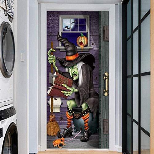3D Door Sticker Foreign Trade New Halloween Creative Funny Door Stickers Glass Window Stickers for Living Room Office Bathroom Kitchen Bedroom