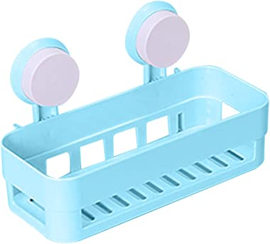 GLIVE (LABEL) Kitchen Bathroom Shelf Wall Rack with 2 Suckers Plastic Shower Caddy Organizer Holder Tray with Suction Cups Lo