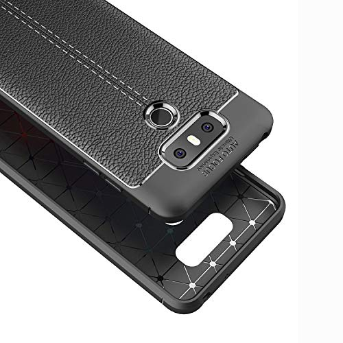 DEVMO Phone Case Compatible with LG G6 H870 LS993 US997 G600 VS988 TPU Bionic Leather Gel Rubber Full Body Protection Shockproof Cover Case Drop Protection Black
