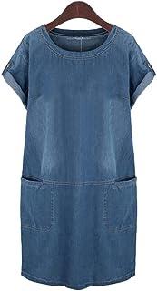 7d169e96f9bda0 HUIMEIDE Damen Sommer Sling Jeanskleid Große Größe Jerseykleid  Freizeitkleid Beiläufige Blusenkleid Denim Sommerkleid Strandkleid