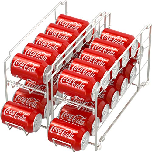 2 Pack - Simple Houseware Stackable Front Loading Beverage Can Dispenser Rack, Silver