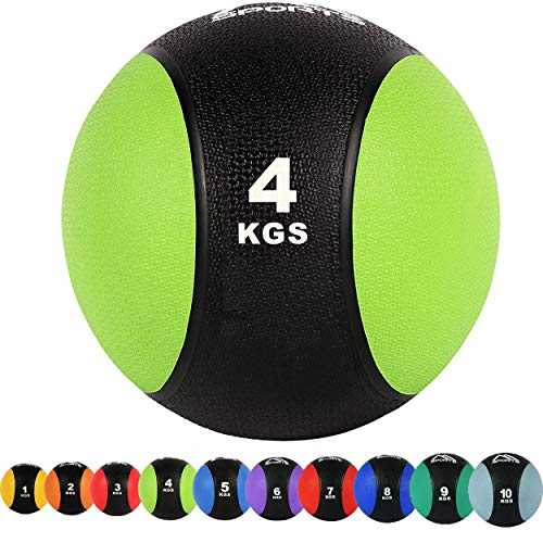 Balón medicinal 1 - 10 kg - calidad de gimnasio profesional con póster de ejercicios para balones de ejercicios – pelota medicinal