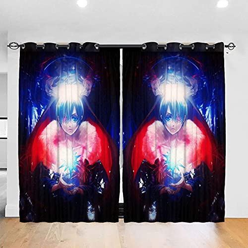 YQUESR Duschvorhänge Black-Butle-Verdunklungsvorhang, wärmeisoliert, schalldicht, Heimdekoration, für Wohnzimmer, Kinderzimmer, 2 Paneele, 132 x 183 cm