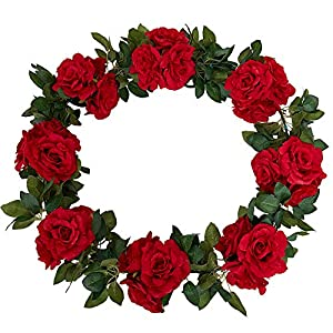 YUYYAO 3PCS(17.7FT) Rose Vines Artificial Flowers Garland Fake Silk Roses Garlands with Led String Light (6.6FT) Hanging Vines for Home Kitchen Garden Office Wedding Wall Decor (Red)