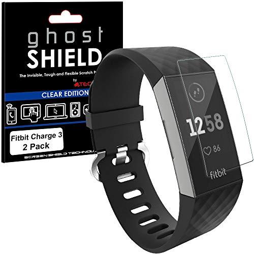 TECHGEAR [2 Stück Displayschutz Kompatibel mit Fitbit Charge 3 - [ghostshield] Genuine verstärkte TPU Displayschutzfolie Guard mit Gesamte Bildschirm Deckung inkl. Gebogener Bereich