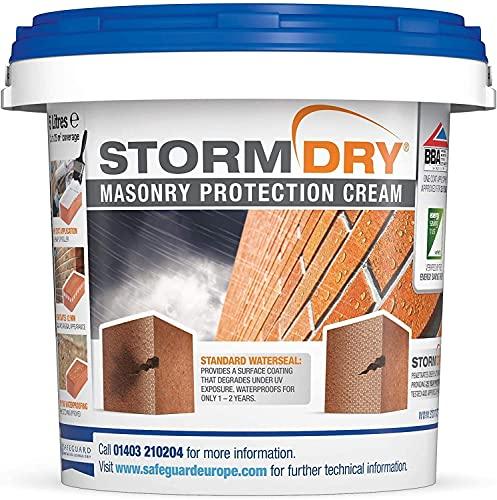 Stormdry Crema protectora de mampostería, producto de impermeabilización de ladrillos certificado BBA & EST – Protección probada de 25 años contra la humedad penetrante, 3 Litros