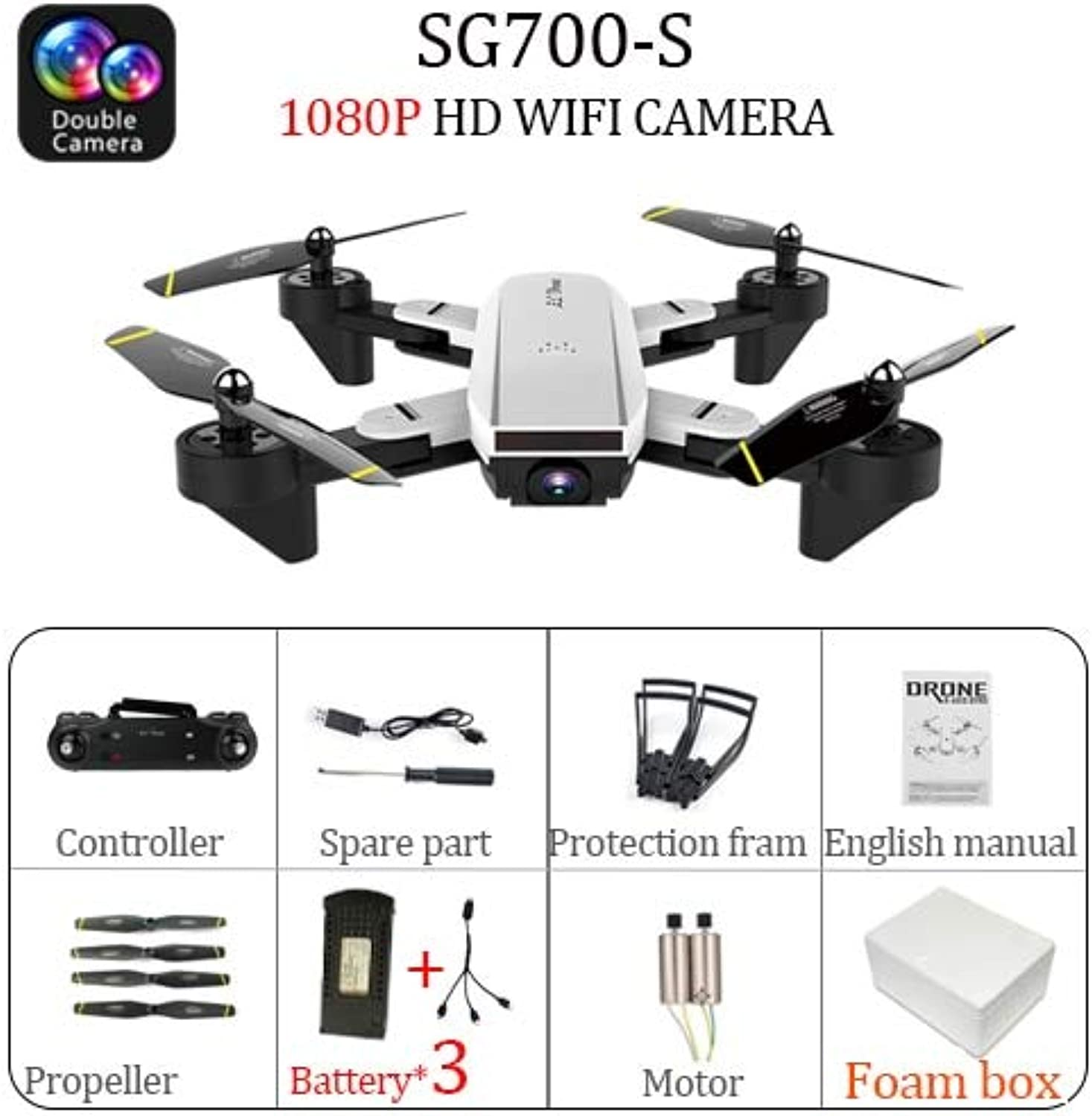 Generic SG700 SG700S Drone with Camera 1080P 720P HD Full Camera Dron RC Drone Professional Smart Follow, Gesture Control VS S20 Drone Dual 1080P CAM 3B 2M